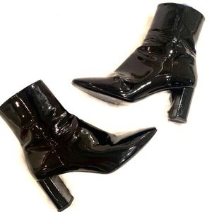 YSL LOU Black Patent Leather Heel Ankle Boots